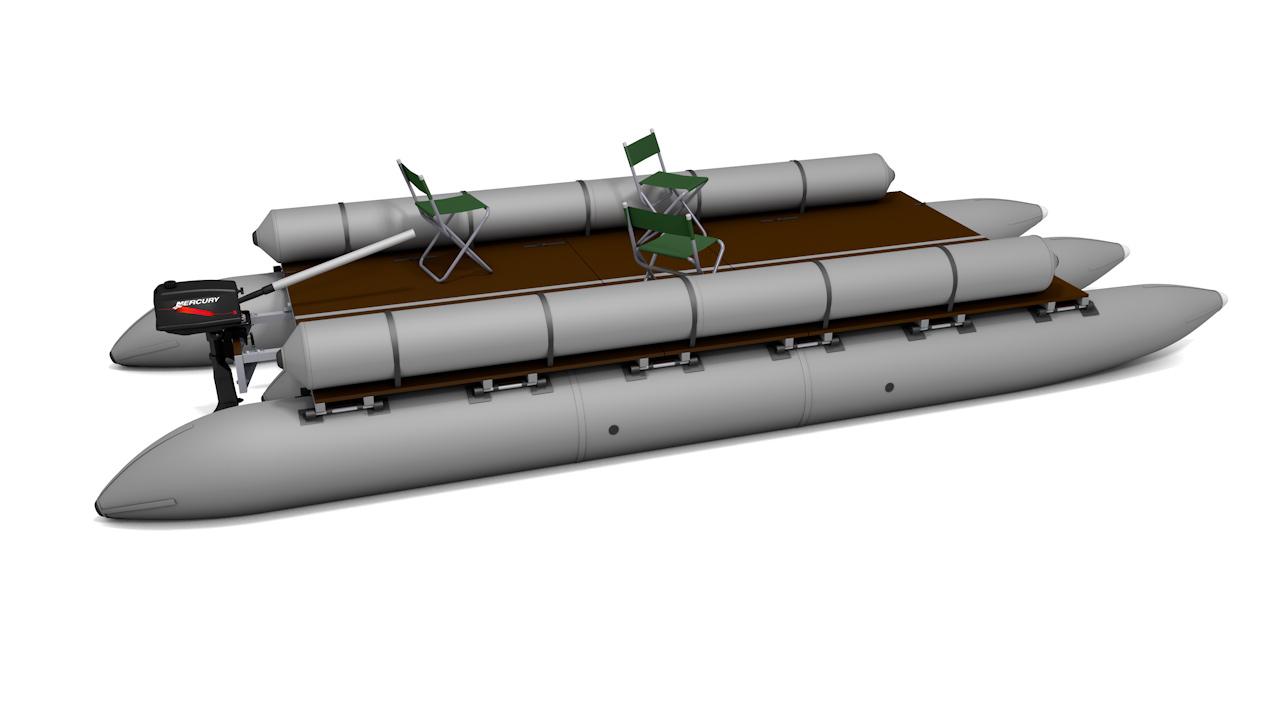 Inflatable pontoons boat trimaran T-60